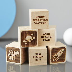 Personalised Baby Keepsake Space Building Block - stocking fillers under £15