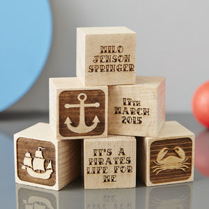 Personalised Baby Keepsake Nautical Building Block - traditional toys & games