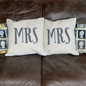 Pair Of Mrs And Mrs Same Sex Cushions - bedroom