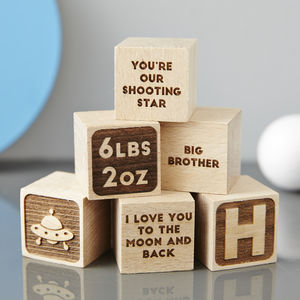 Personalised Christening Keepsake Space Building Block - our memories