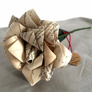 Single Stem Recycled Paper Rose - gifts for her