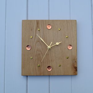 Oak, Copper And Brass Clock - home accessories