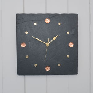Slate, Copper And Brass Wall Clock - bedroom