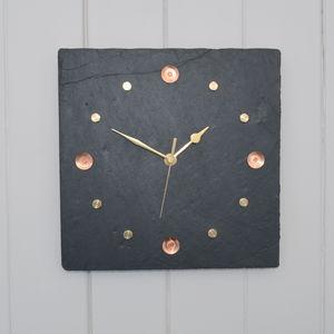 Slate, Copper And Brass Wall Clock - clocks