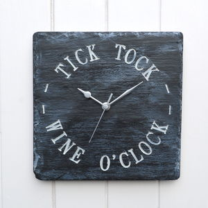Wine O'clock Engraved Slate Clock - home accessories