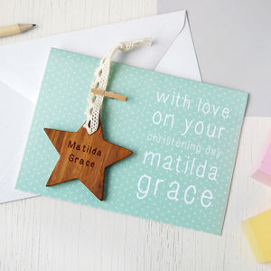 Personalised Christening Star Keepsake Card - keepsakes
