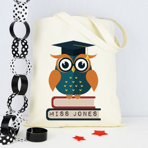 Personalised 'Owl' Teacher Tote Bag - shoulder bags