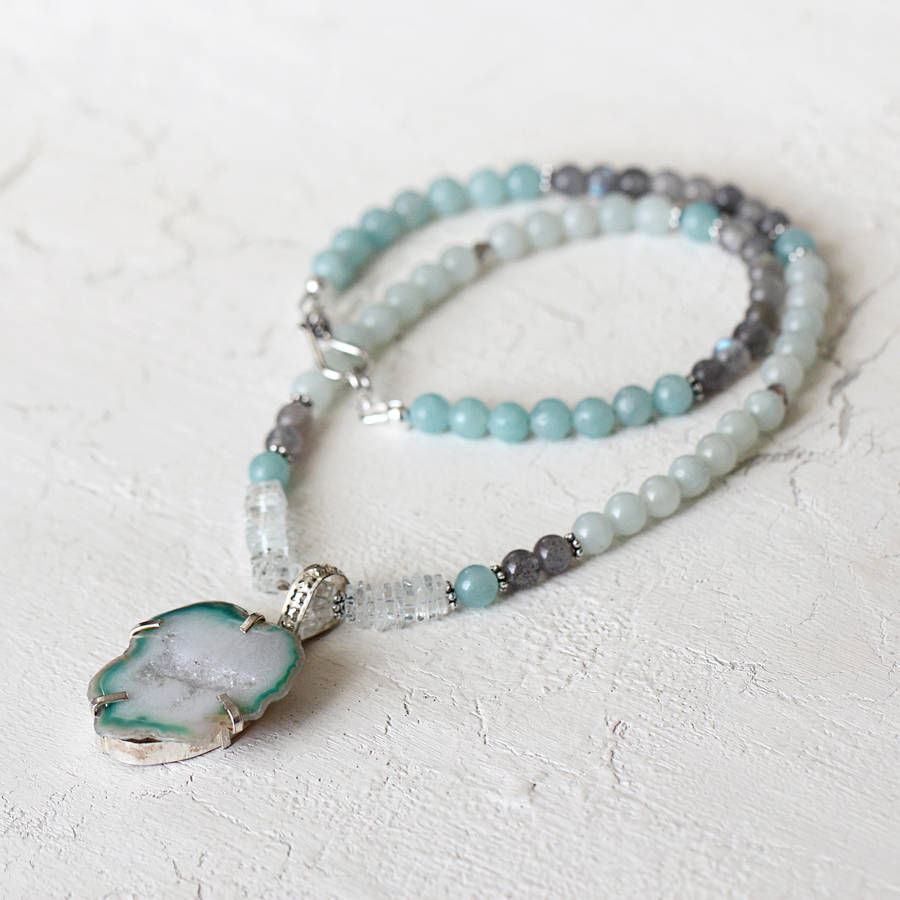 Aquamarine And Amazonite Necklace
