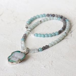 Aquamarine And Amazonite Necklace - necklaces & pendants