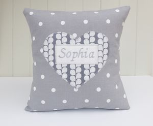 Personalised Grey Heart Cushion