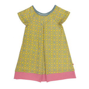 Organic Pleated Dress - teddy bear's picnic