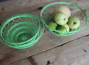 Set Of Three Green Wire Baskets - tableware