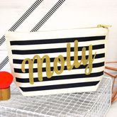 Personalised Black And Gold Make Up Case - health & beauty