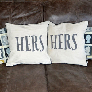 Pair Of Her And Hers Cushions
