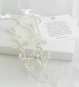 Handmade Pearl And Silver Bridal Barefoot Sandals - sandals