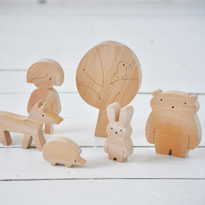 Little Wooden Boy/Girl And Woodland Friends - children's room accessories