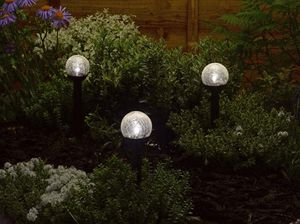 Solar Crystal Globe Stake Lights / Set Of Six - outdoor lights