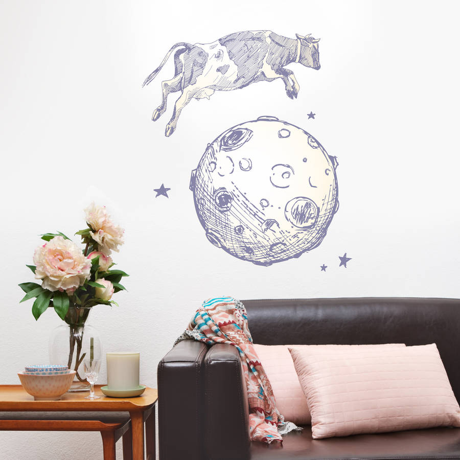 cow jumps over the moon wall sticker by oakdene designs. Black Bedroom Furniture Sets. Home Design Ideas