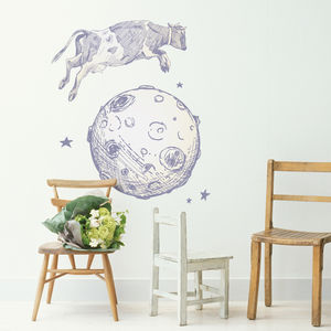 Cow Jumps Over The Moon Wall Sticker - baby's room