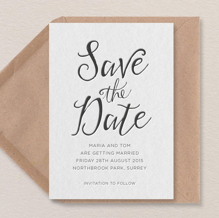 Calligraphy Letterpress Save The Date By Print For Love Of