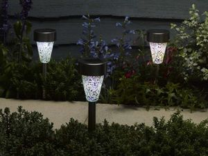 Solar Golden Pearl Glass Stake Lights / Set Of Eight