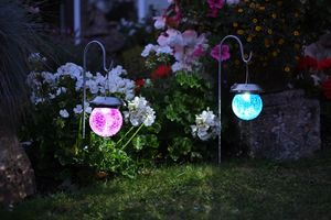Solar Hanging Crackle Globe Lights / Set Of Two