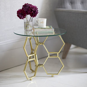 Honeycomb Glass Top Side Table - furniture