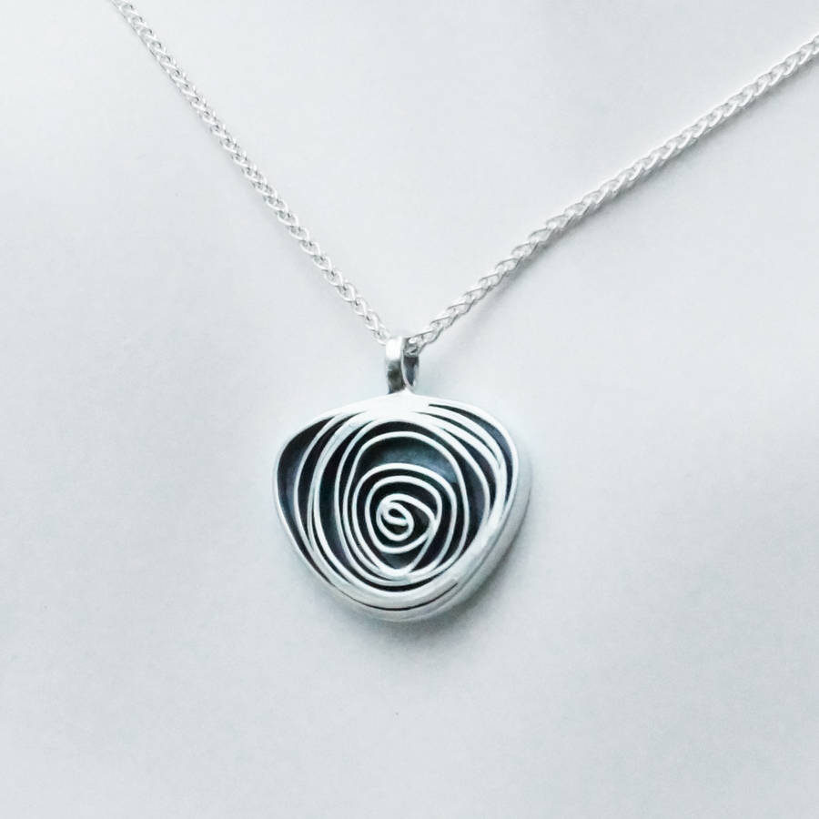 Silver spiral pendant by sallyanne lowe notonthehighstreet silver spiral pendant aloadofball Image collections
