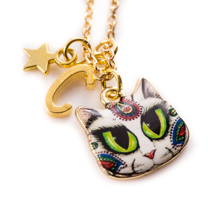 Mysterious Cat Charm Necklace - personalised