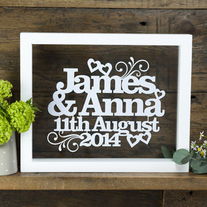 Personalised Names And Wedding Date Papercut Gift