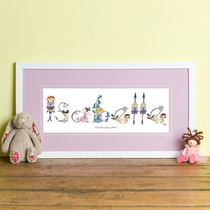 Girl's Personalised 'Fairy Name' Frame - children's pictures & prints