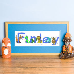 Personalised 'Animal Name' Print - children's room