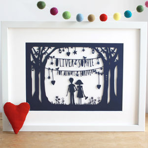 Valentine's Or First Anniversary Papercut Or Print - prints & art