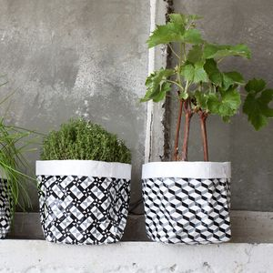 Geometric Monochrome Pot Cover, Set Of Two