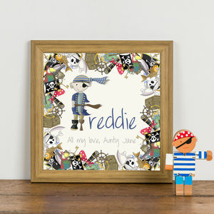 Personalised 'Pirate Initial' Children's Print - children's room