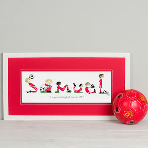 Personalised 'Football Name' Print - canvas prints & art for children