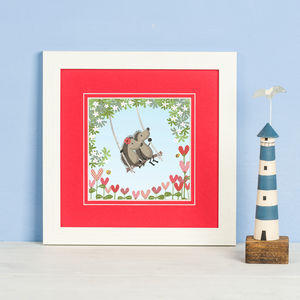 'Hedgehugs Tree Swing' Print