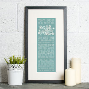90th Birthday Personalised 'The Day You Were Born' - posters & prints