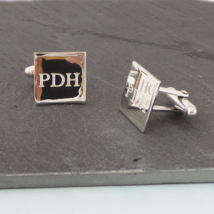 Silver Square Personalised Engraved Cufflinks - cufflinks