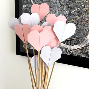 Set Of 12 Paper Origami Hearts - outdoor decorations
