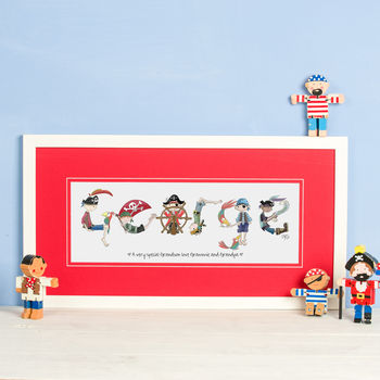 Personalised 'Pirate Name' Print - White Frame