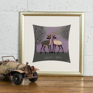 'Woodland Deer' Personalised Love Print
