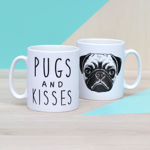 'Pugs And Kisses' Ceramic Mug - gifts for pet lovers