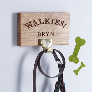 Personalised 'Walkies' Dog Lead Hanger