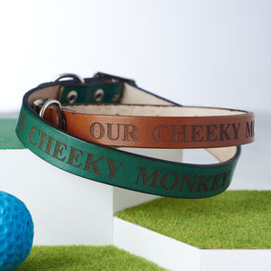 Personalised Leather Dog Collar - winter sale