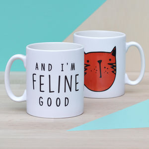 'And I'm Feline Good' Ceramic Mug - pet-lover