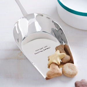 Personalised Silver Plated Pet Food Scoop - treats & food