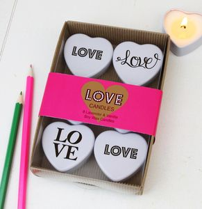 A Set Of Six 'Love' Typographic Candles In A Gift Box - occasional supplies