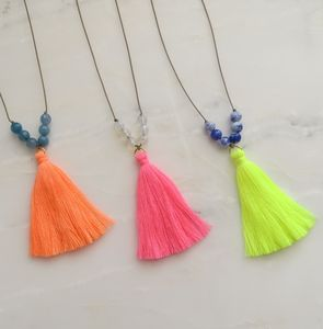 Anjuna Summer Neon Tassel And Gemstone Necklace