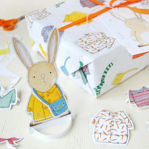 Dress Up A Rabbit Interactive Wrapping Paper Set - wrapping paper